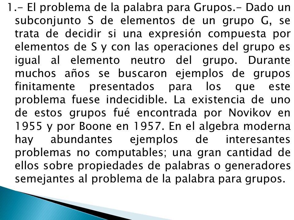 1. - El problema de la palabra para Grupos