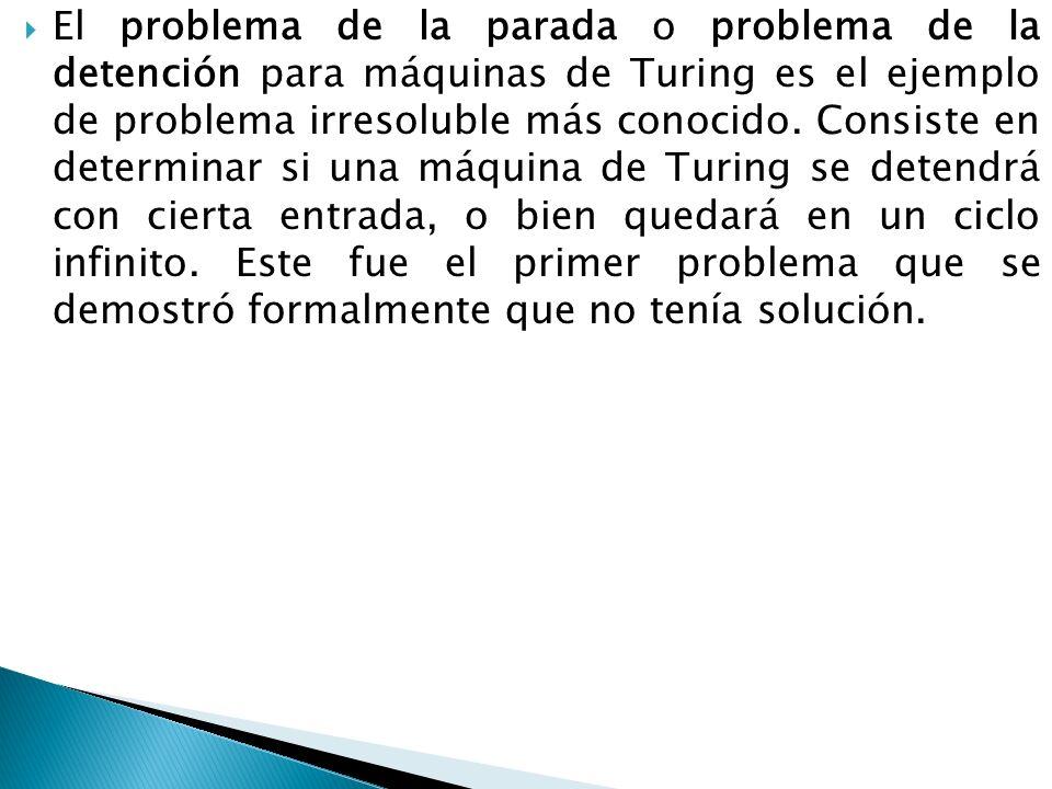 El problema de la parada o problema de la detención para máquinas de Turing es el ejemplo de problema irresoluble más conocido.