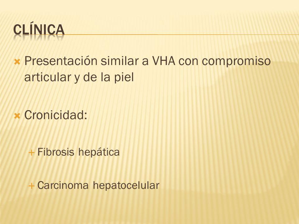 clínica Presentación similar a VHA con compromiso articular y de la piel. Cronicidad: Fibrosis hepática.