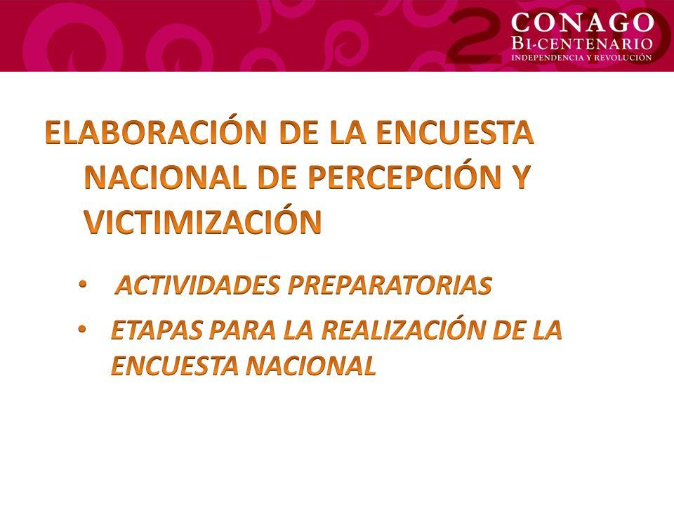 ELABORACIÓN DE LA ENCUESTA NACIONAL DE PERCEPCIÓN Y VICTIMIZACIÓN