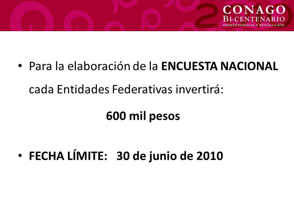 Para la elaboración de la ENCUESTA NACIONAL cada Entidades Federativas invertirá: