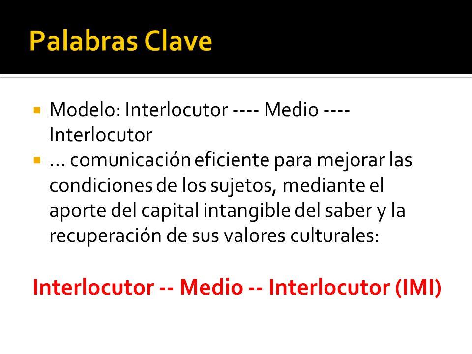 Palabras Clave Interlocutor -- Medio -- Interlocutor (IMI)