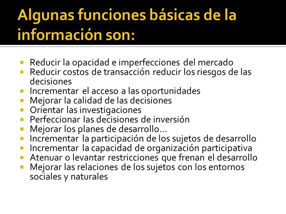 Algunas funciones básicas de la información son: