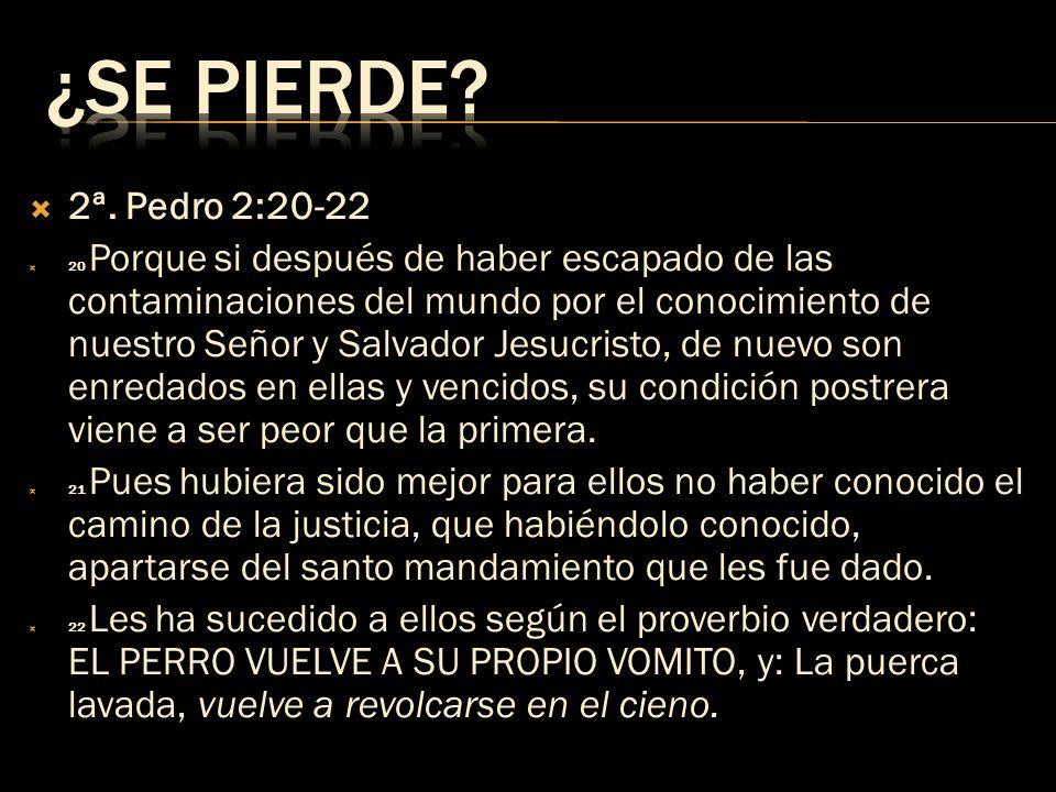 ¿SE PIERDE 2ª. Pedro 2:20-22.