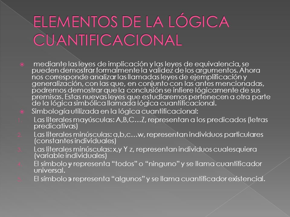 ELEMENTOS DE LA LÓGICA CUANTIFICACIONAL
