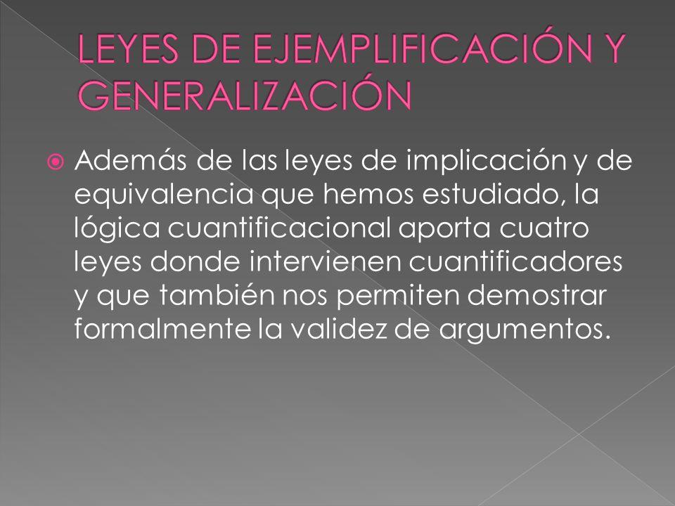 LEYES DE EJEMPLIFICACIÓN Y GENERALIZACIÓN