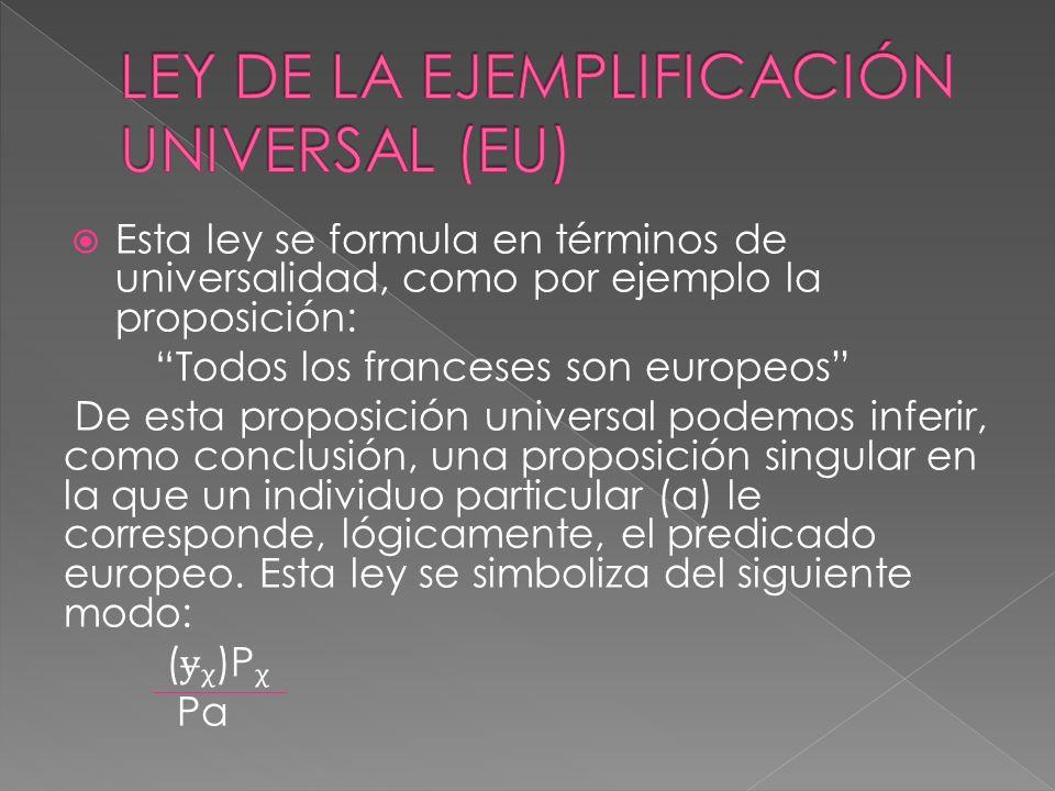 LEY DE LA EJEMPLIFICACIÓN UNIVERSAL (EU)