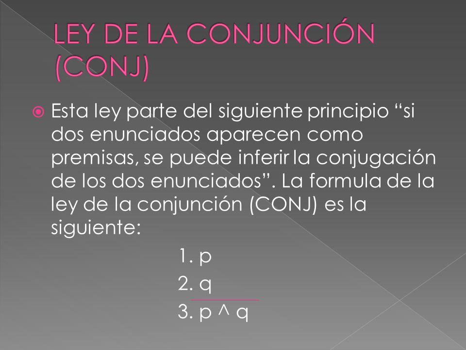 LEY DE LA CONJUNCIÓN (CONJ)
