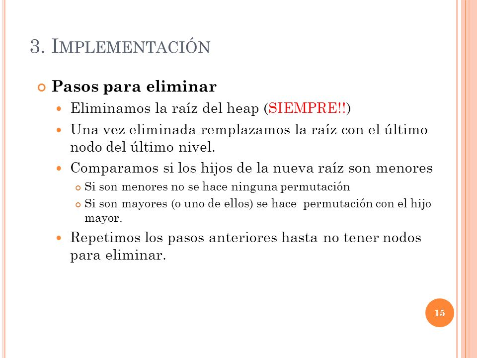 3. Implementación Pasos para eliminar