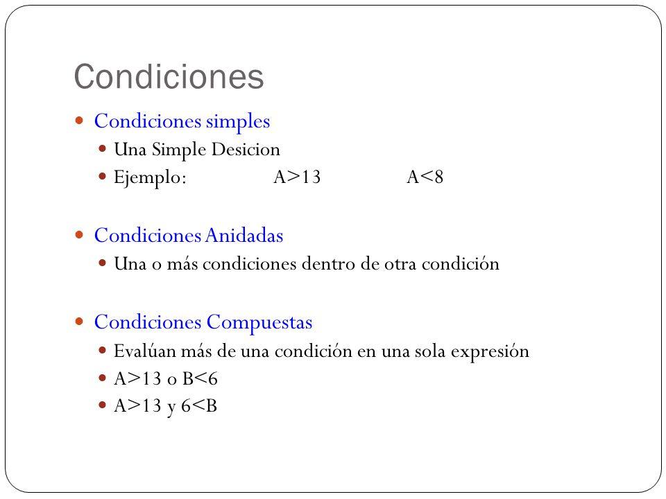 Condiciones Condiciones simples Condiciones Anidadas