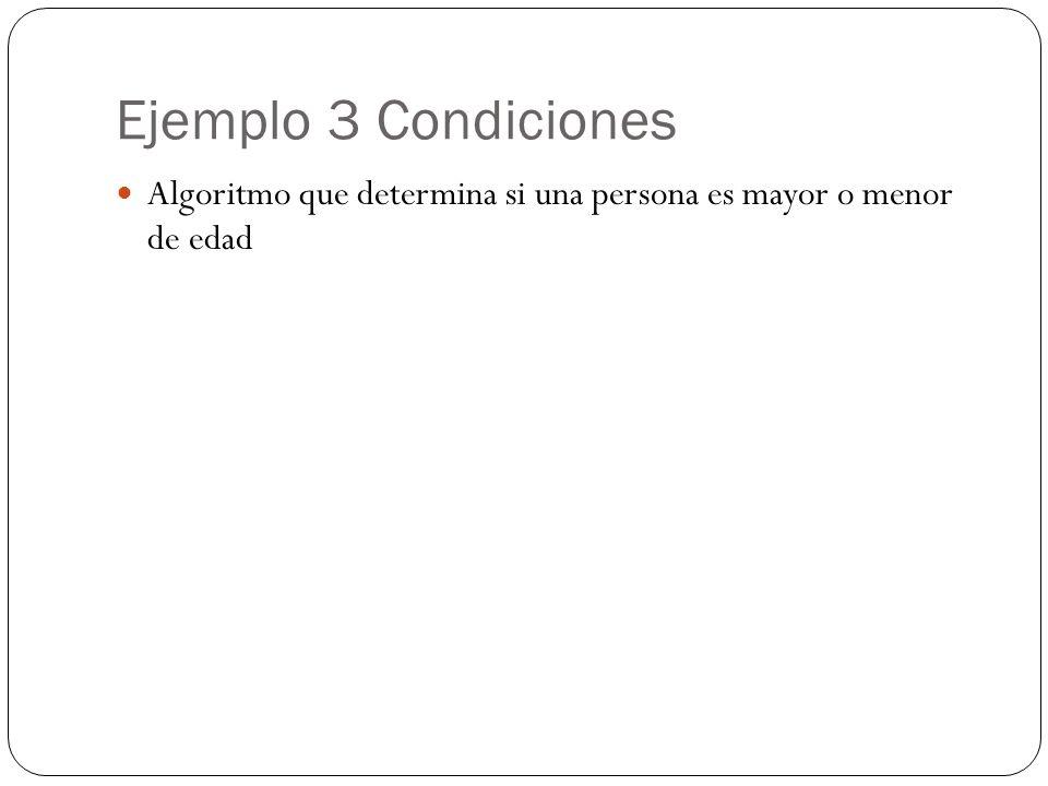 Ejemplo 3 Condiciones Algoritmo que determina si una persona es mayor o menor de edad
