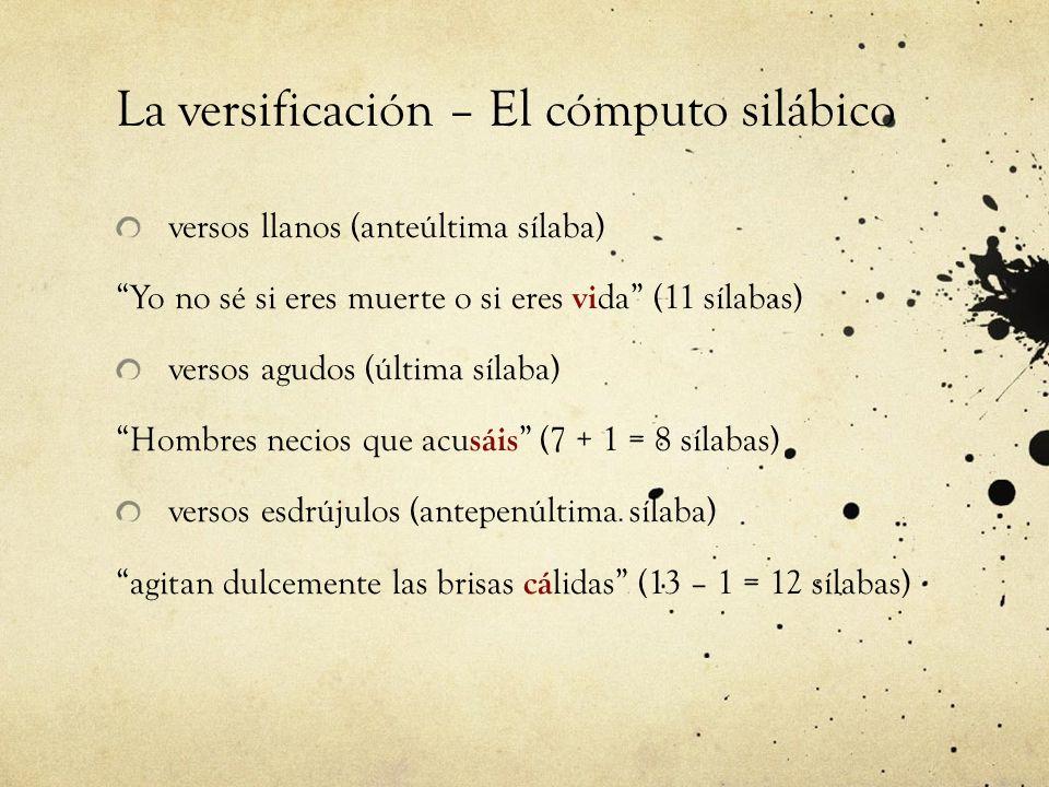 La versificación – El cómputo silábico