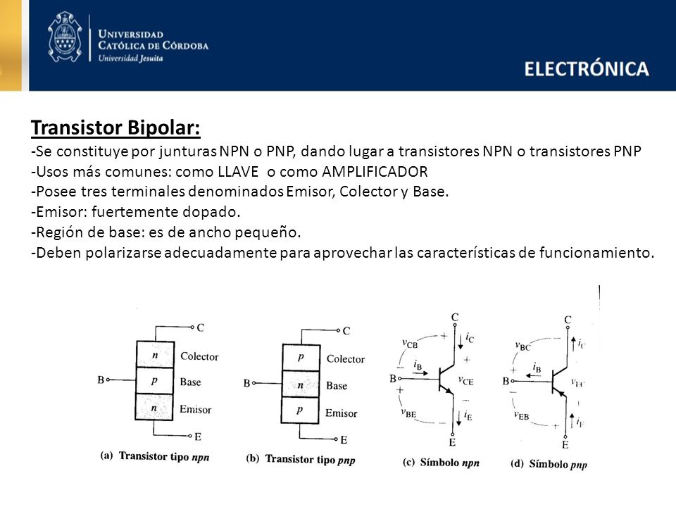 Transistor Bipolar: -Se constituye por junturas NPN o PNP, dando lugar a transistores NPN o transistores PNP.