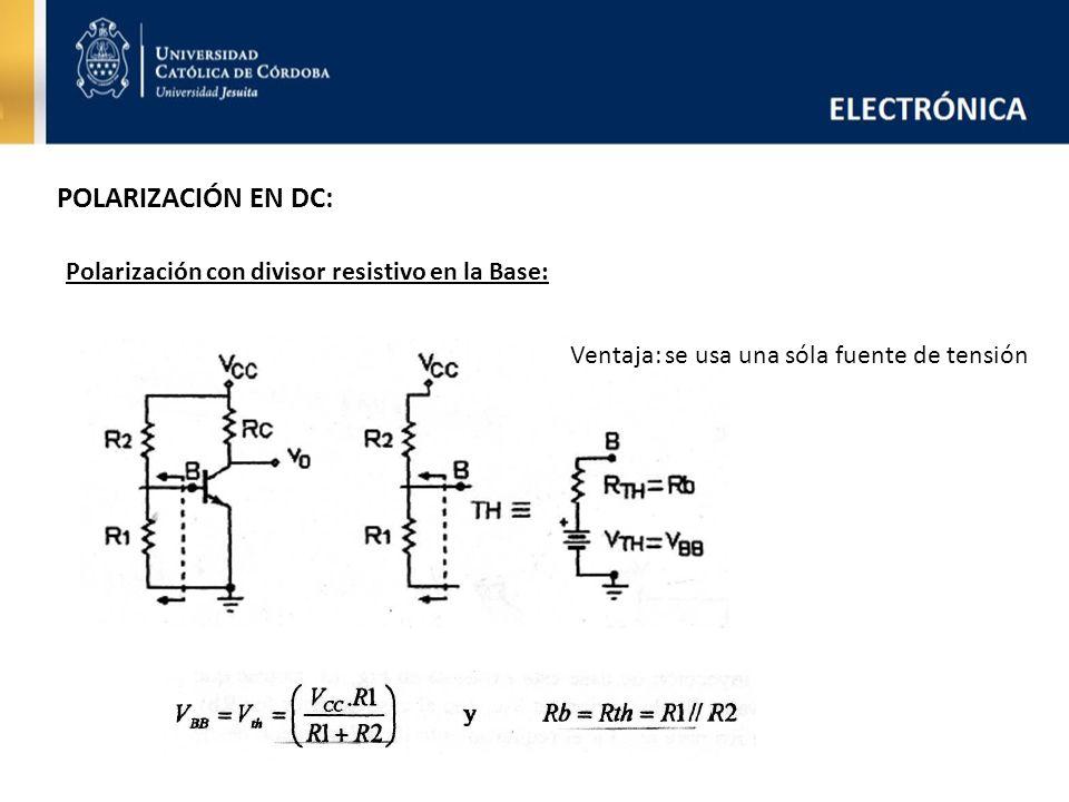 POLARIZACIÓN EN DC: Polarización con divisor resistivo en la Base: