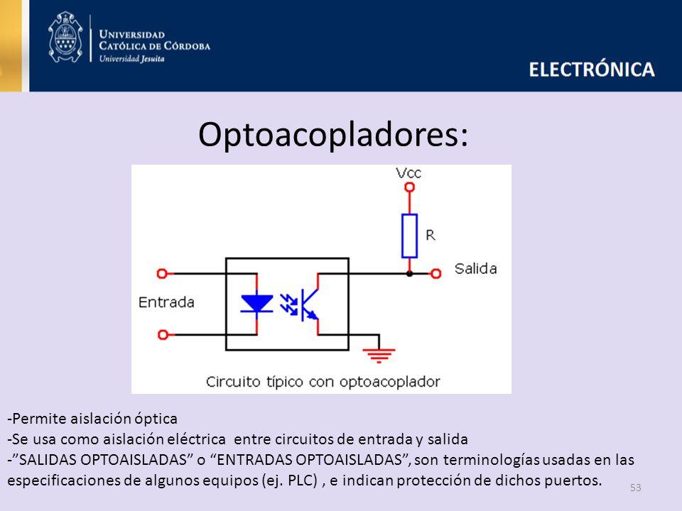 Optoacopladores: -Permite aislación óptica