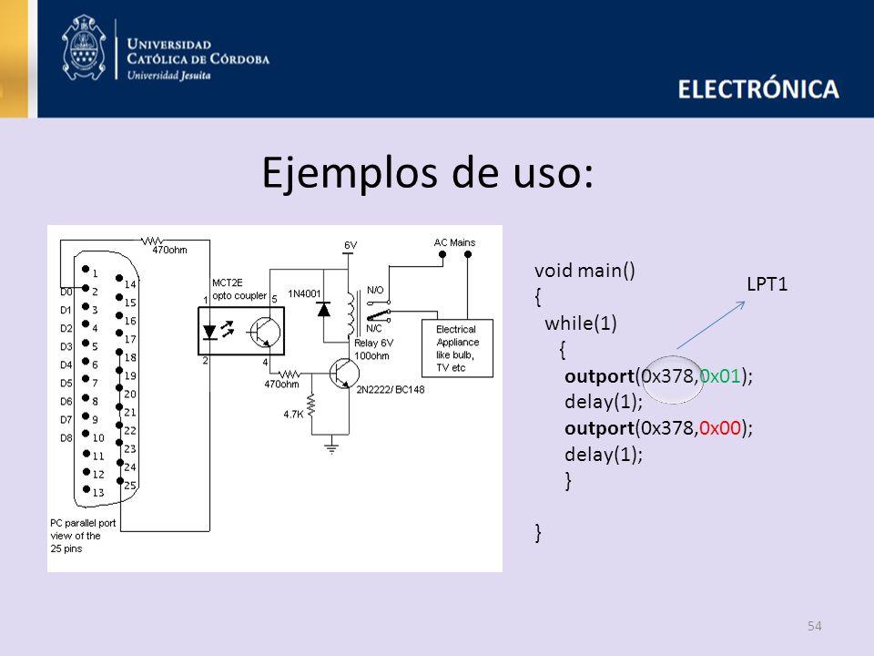 Ejemplos de uso: void main() { LPT1 while(1) outport(0x378,0x01);