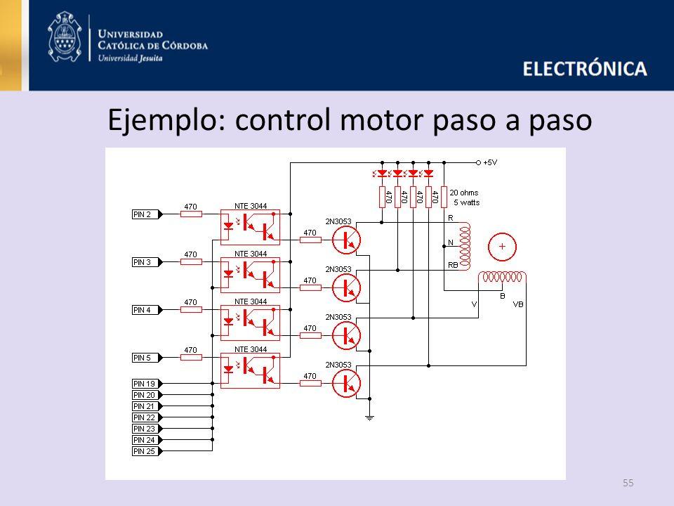 Ejemplo: control motor paso a paso