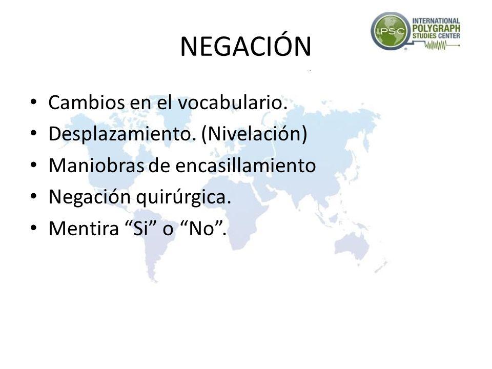 NEGACIÓN Cambios en el vocabulario. Desplazamiento. (Nivelación)