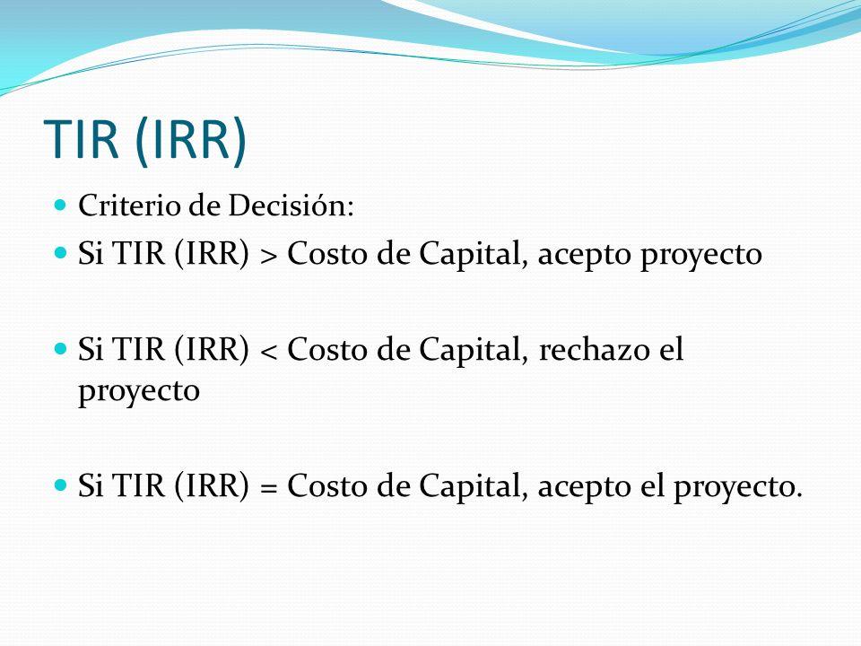 TIR (IRR) Si TIR (IRR) > Costo de Capital, acepto proyecto