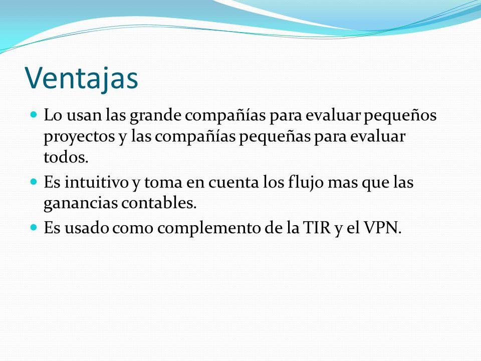 Ventajas Lo usan las grande compañías para evaluar pequeños proyectos y las compañías pequeñas para evaluar todos.
