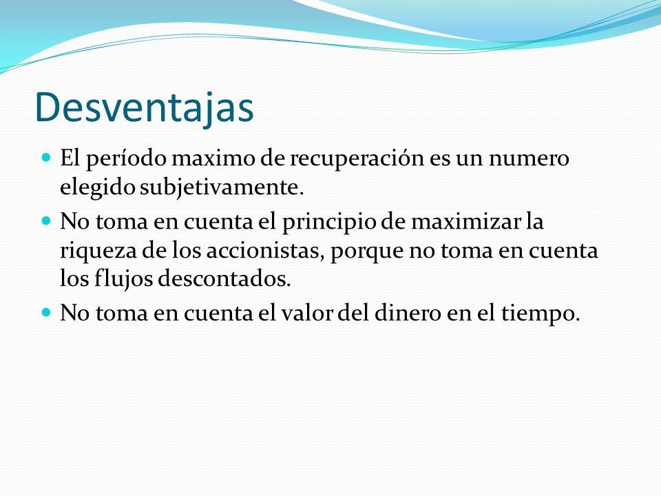 Desventajas El período maximo de recuperación es un numero elegido subjetivamente.
