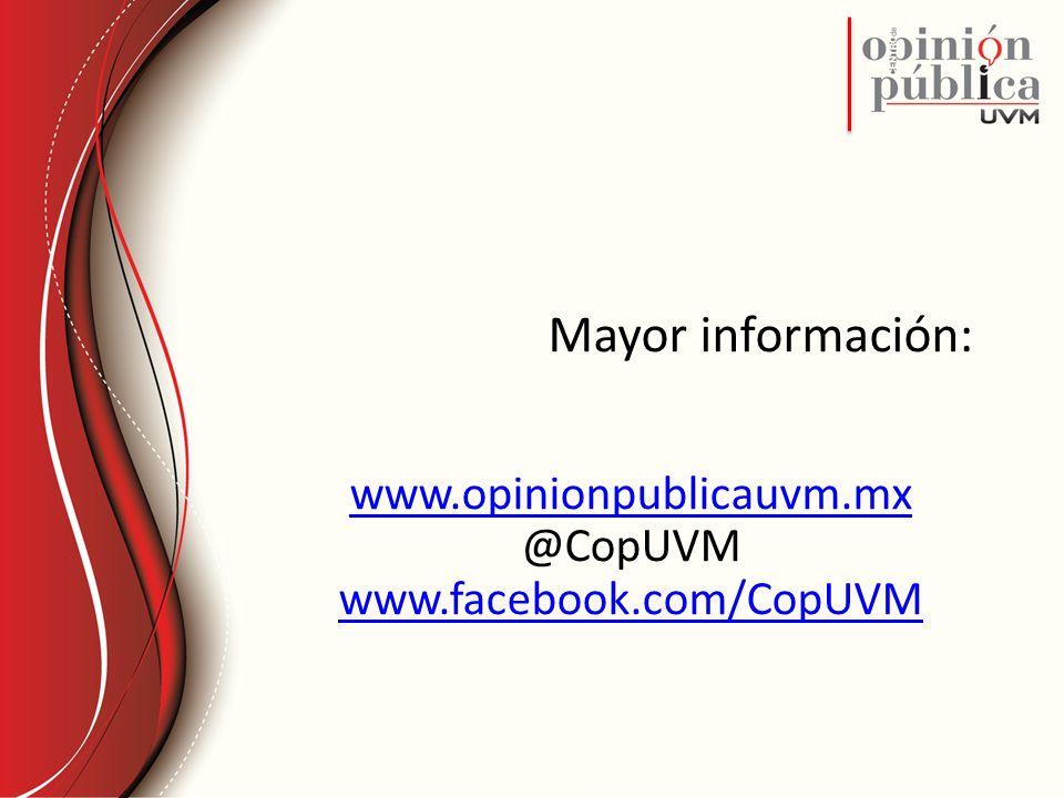Mayor información: www.opinionpublicauvm.mx @CopUVM