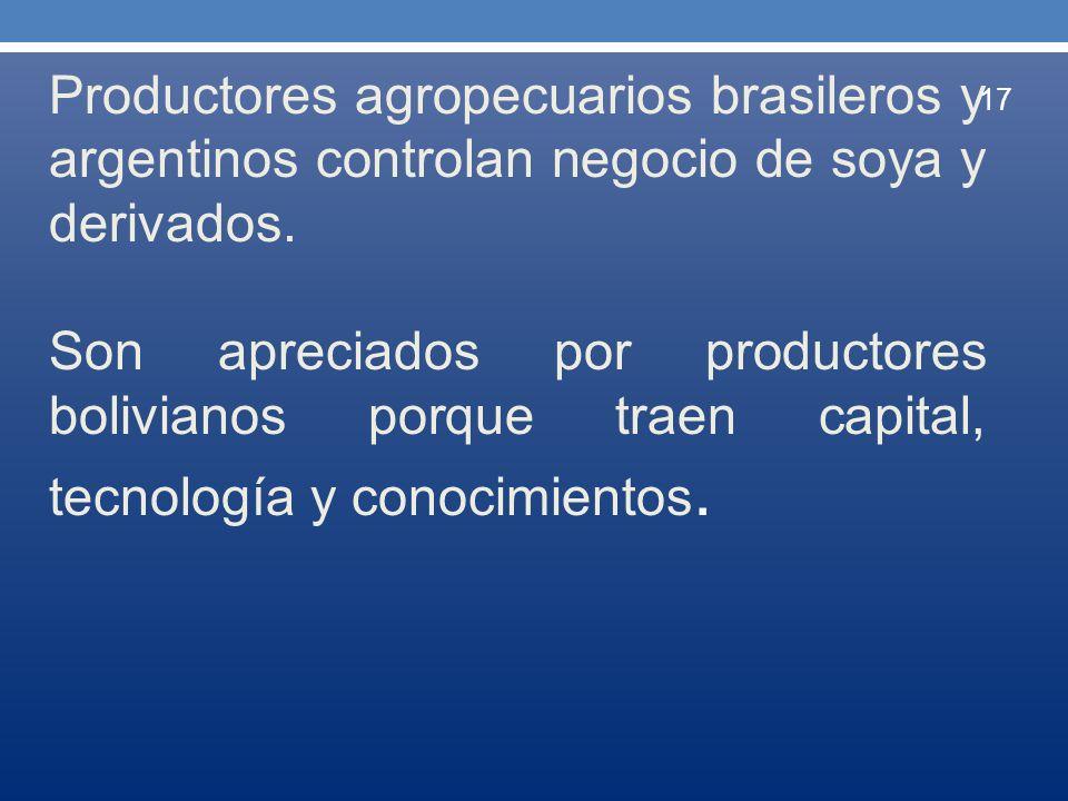 Productores agropecuarios brasileros y argentinos controlan negocio de soya y derivados.
