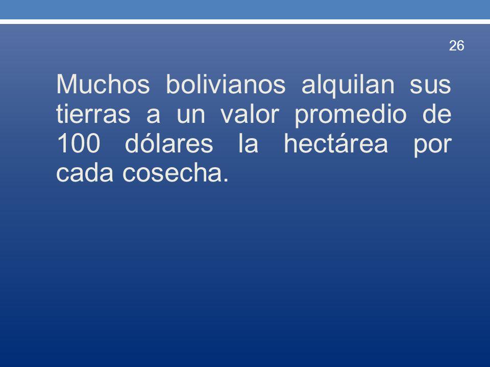 Muchos bolivianos alquilan sus tierras a un valor promedio de 100 dólares la hectárea por cada cosecha.