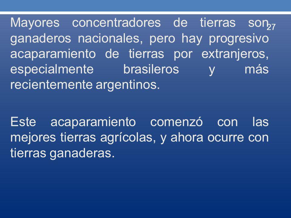 Mayores concentradores de tierras son ganaderos nacionales, pero hay progresivo acaparamiento de tierras por extranjeros, especialmente brasileros y más recientemente argentinos.