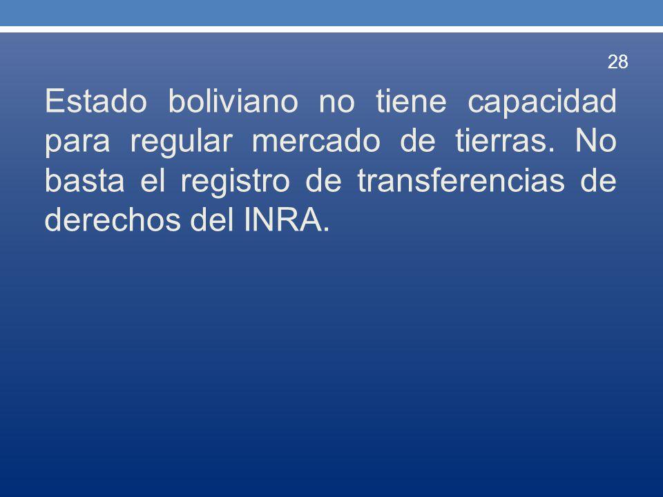 Estado boliviano no tiene capacidad para regular mercado de tierras