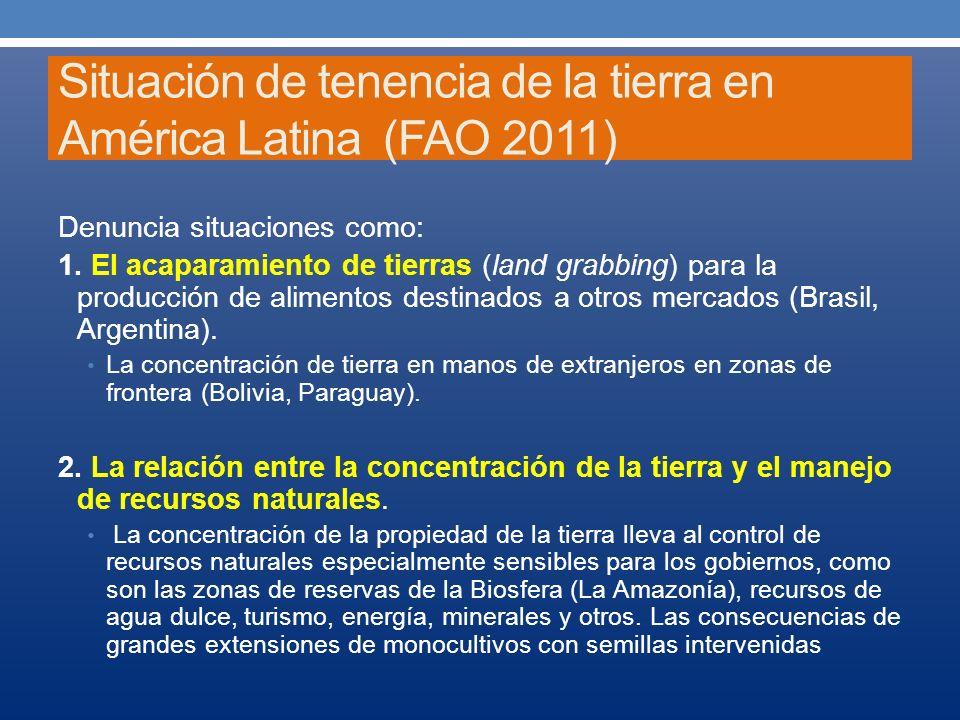 Situación de tenencia de la tierra en América Latina (FAO 2011)