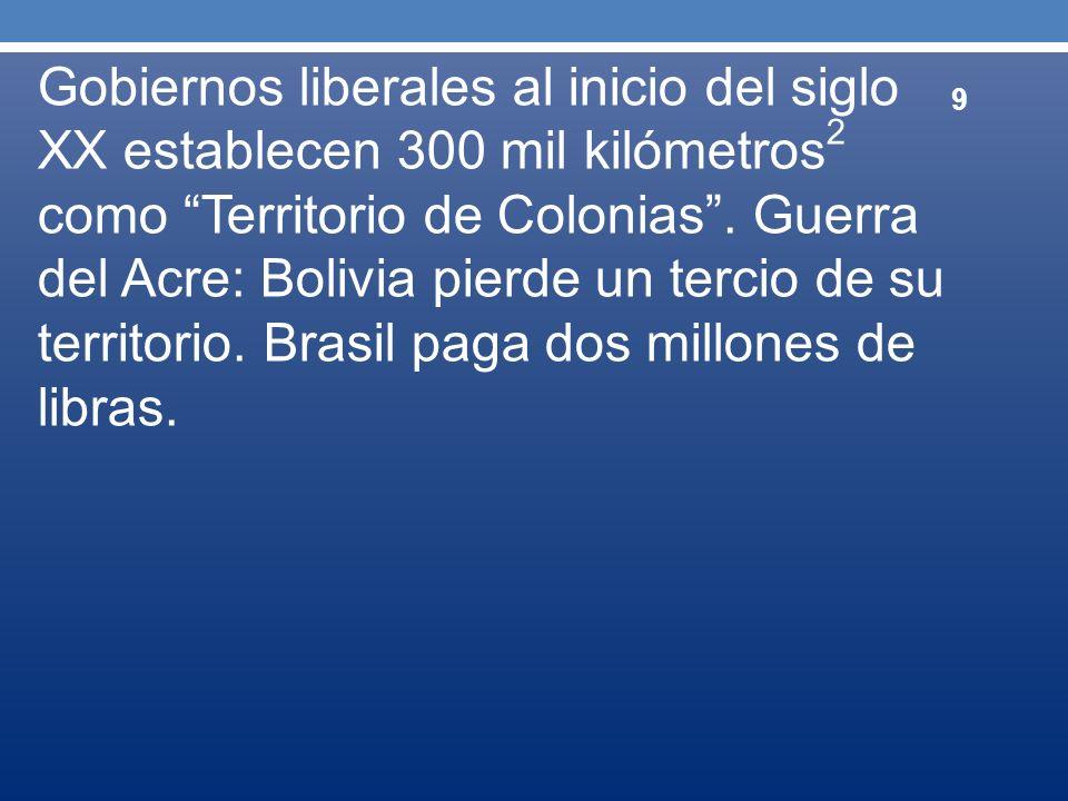 Gobiernos liberales al inicio del siglo XX establecen 300 mil kilómetros2 como Territorio de Colonias .
