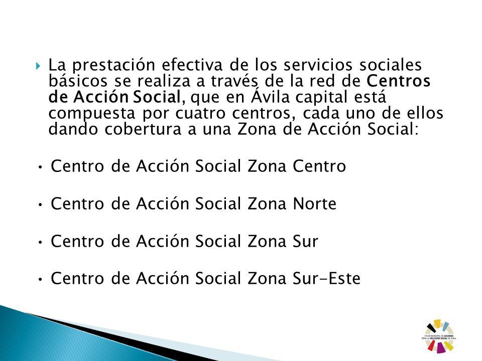 La prestación efectiva de los servicios sociales básicos se realiza a través de la red de Centros de Acción Social, que en Ávila capital está compuesta por cuatro centros, cada uno de ellos dando cobertura a una Zona de Acción Social: