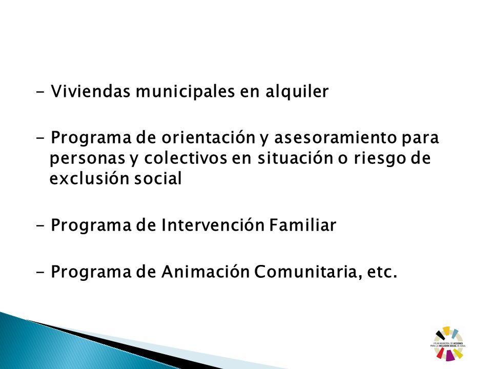 - Viviendas municipales en alquiler - Programa de orientación y asesoramiento para personas y colectivos en situación o riesgo de exclusión social - Programa de Intervención Familiar - Programa de Animación Comunitaria, etc.