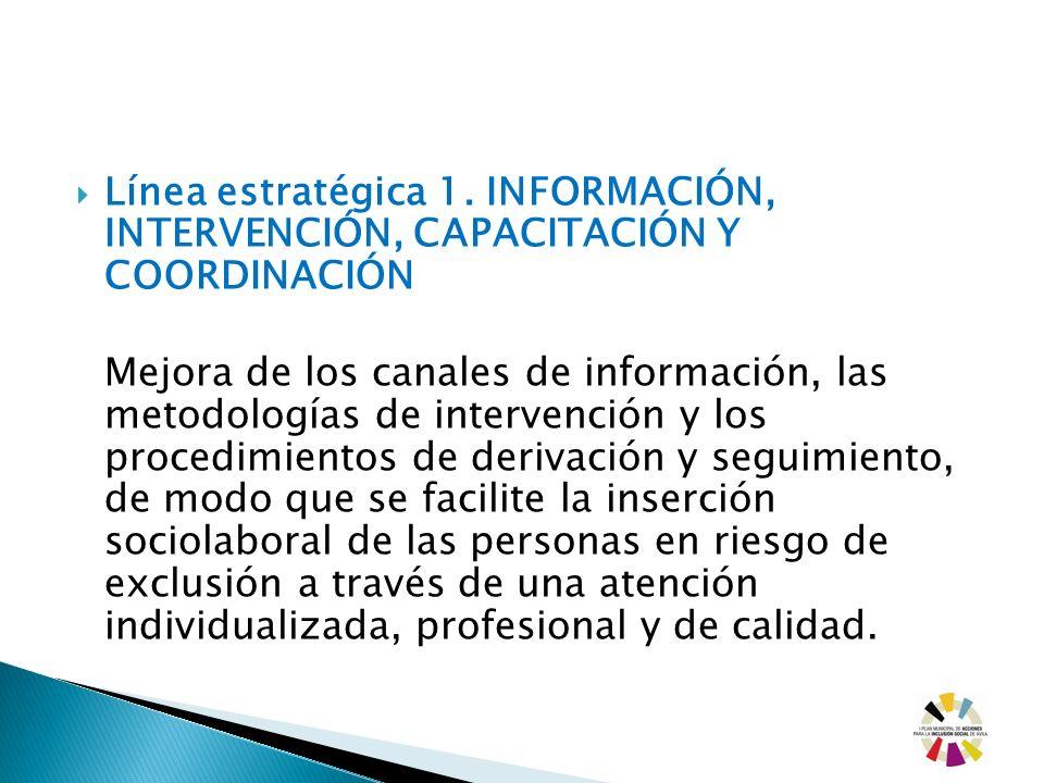 Línea estratégica 1. INFORMACIÓN, INTERVENCIÓN, CAPACITACIÓN Y COORDINACIÓN