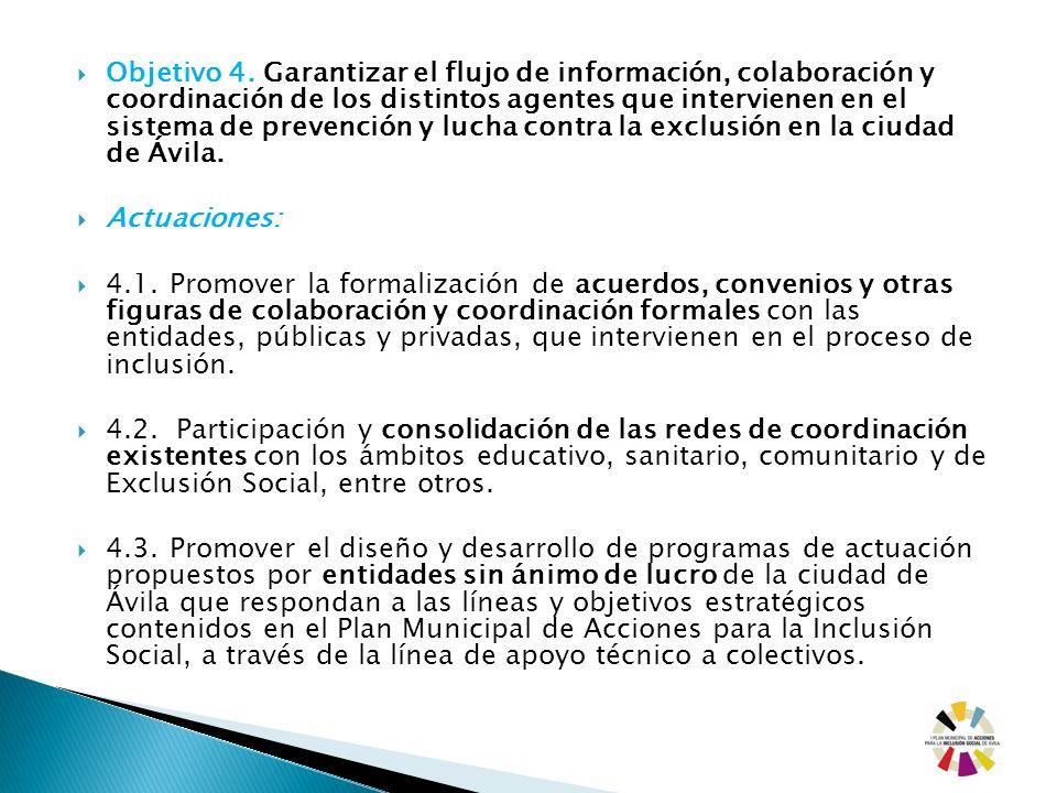 Objetivo 4. Garantizar el flujo de información, colaboración y coordinación de los distintos agentes que intervienen en el sistema de prevención y lucha contra la exclusión en la ciudad de Ávila.