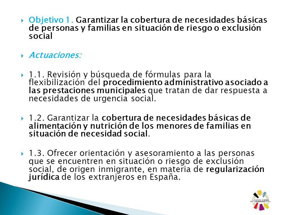 Objetivo 1. Garantizar la cobertura de necesidades básicas de personas y familias en situación de riesgo o exclusión social