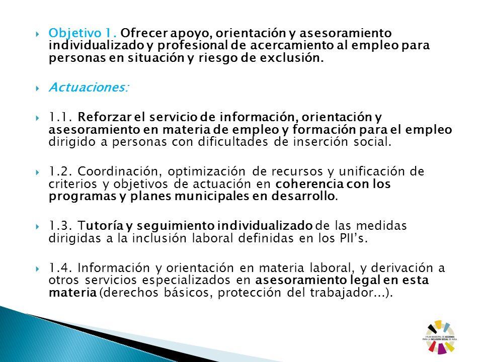 Objetivo 1. Ofrecer apoyo, orientación y asesoramiento individualizado y profesional de acercamiento al empleo para personas en situación y riesgo de exclusión.