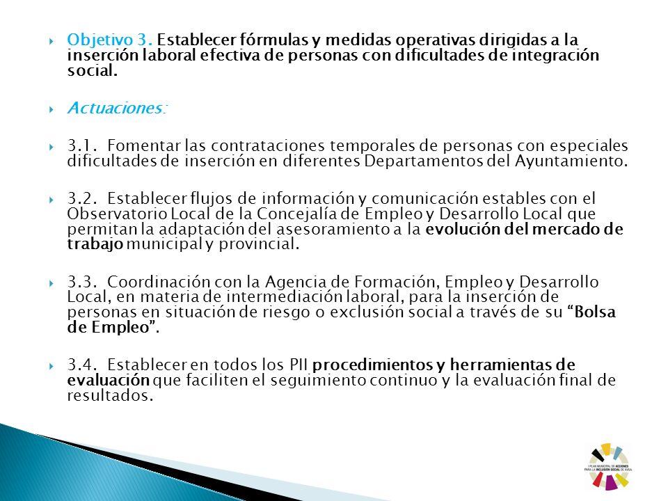 Objetivo 3. Establecer fórmulas y medidas operativas dirigidas a la inserción laboral efectiva de personas con dificultades de integración social.