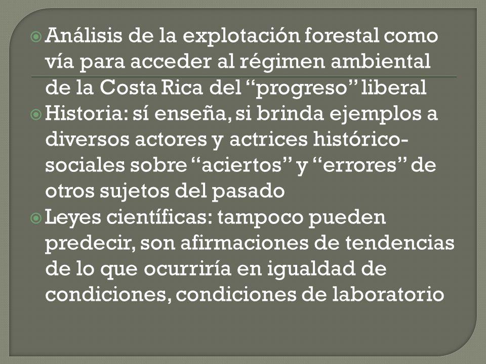 Análisis de la explotación forestal como vía para acceder al régimen ambiental de la Costa Rica del progreso liberal