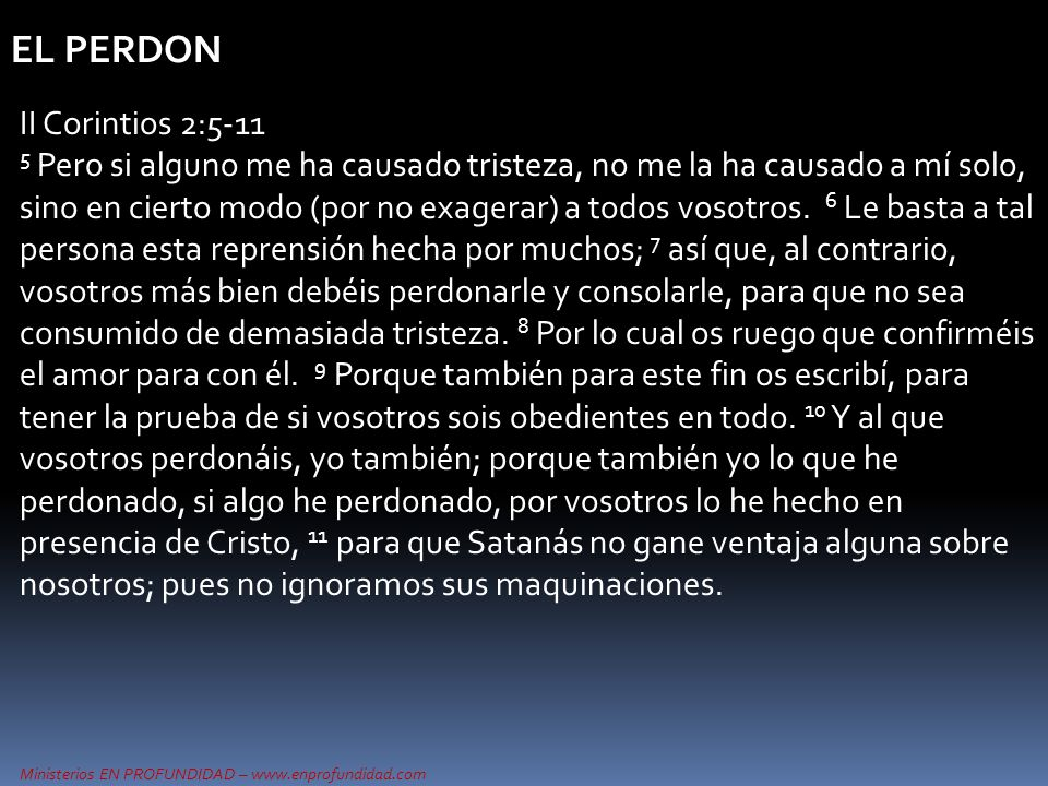 EL PERDON II Corintios 2:5-11