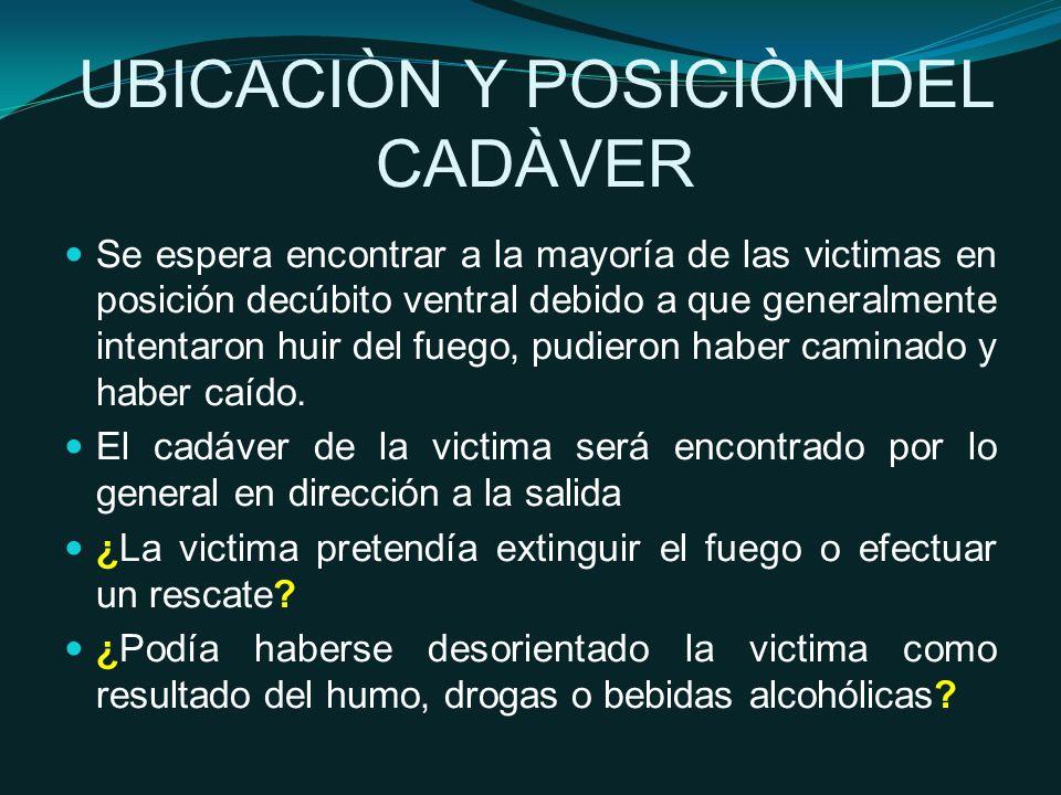 UBICACIÒN Y POSICIÒN DEL CADÀVER