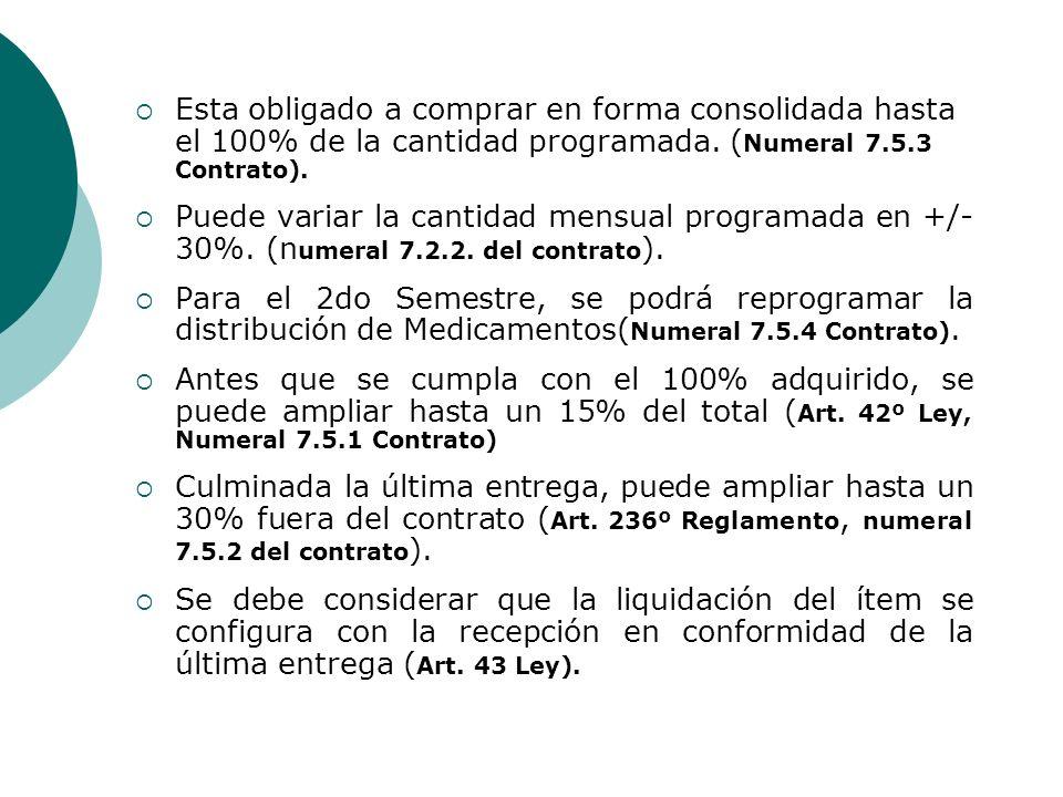 Esta obligado a comprar en forma consolidada hasta el 100% de la cantidad programada. (Numeral 7.5.3 Contrato).
