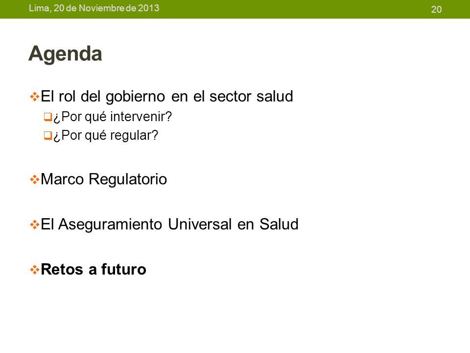 Agenda El rol del gobierno en el sector salud Marco Regulatorio
