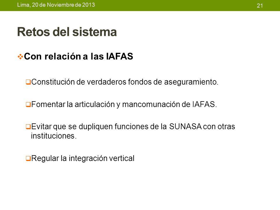 Retos del sistema Con relación a las IAFAS