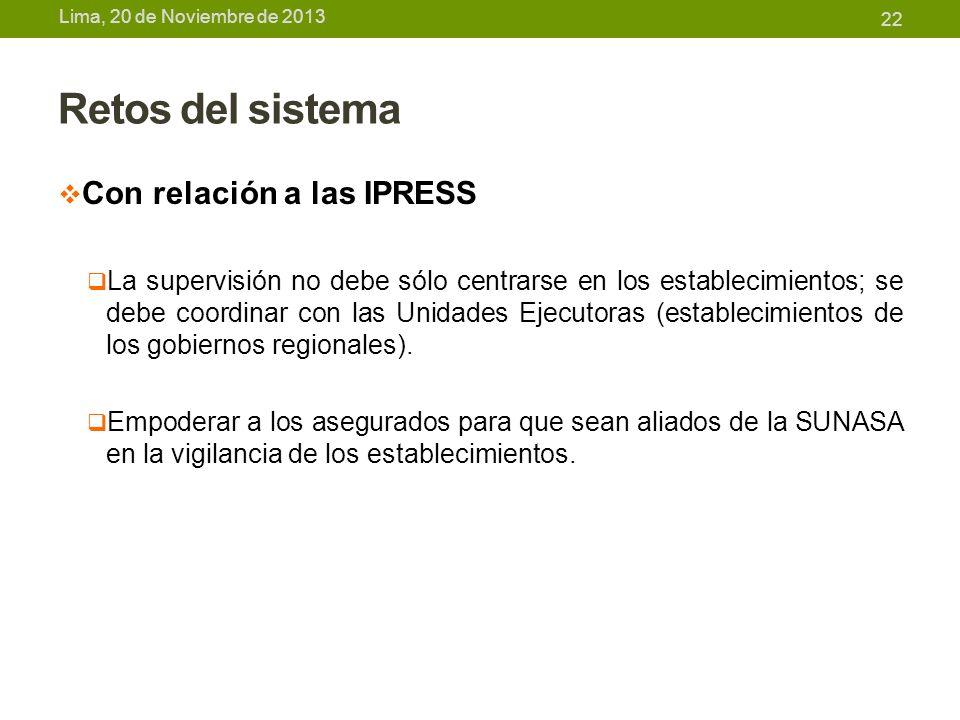 Retos del sistema Con relación a las IPRESS