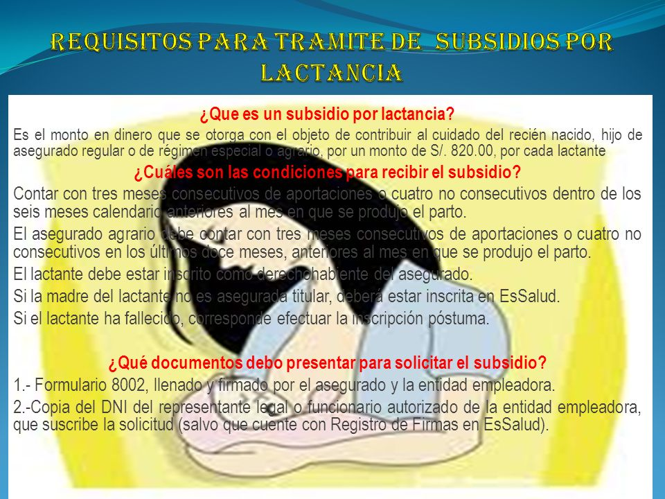 REQUISITOS PARA TRAMITE DE SUBSIDIOS POR LACTANCIA