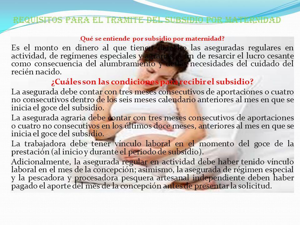 REQUISITOS PARA EL TRAMITE DEL SUBSIDIO POR MATERNIDAD