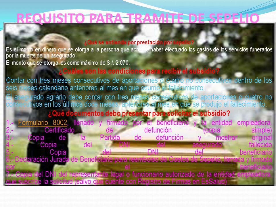 REQUISITO PARA TRAMITE DE SEPELIO