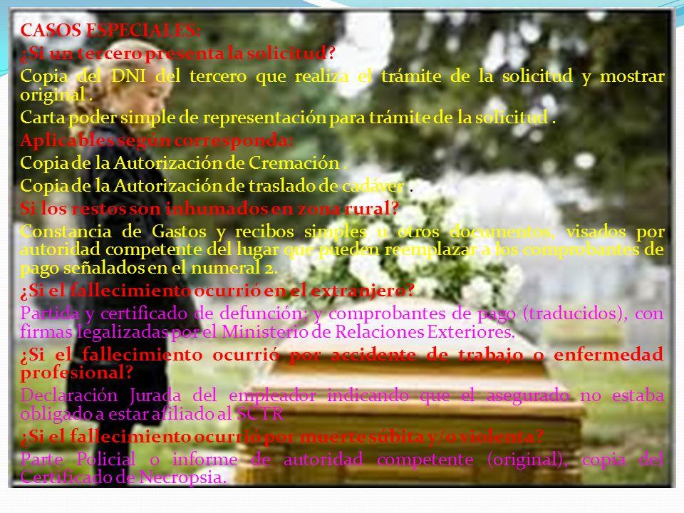 CASOS ESPECIALES: ¿Si un tercero presenta la solicitud